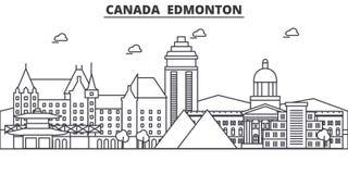 Linea illustrazione di architettura del Canada, Edmonton dell'orizzonte Paesaggio urbano lineare con i punti di riferimento famos Immagini Stock
