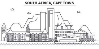Linea illustrazione di architettura del Sudafrica, Cape Town dell'orizzonte Paesaggio urbano lineare con i punti di riferimento f Immagine Stock