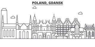 Linea illustrazione di architettura della Polonia, Danzica dell'orizzonte Paesaggio urbano lineare con i punti di riferimento fam Immagine Stock Libera da Diritti