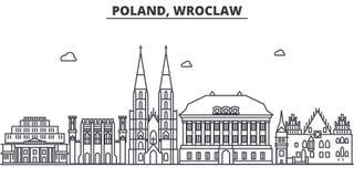 Linea illustrazione di architettura della Polonia, Wroclaw dell'orizzonte Paesaggio urbano lineare con i punti di riferimento fam Fotografia Stock Libera da Diritti