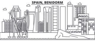 Linea illustrazione di architettura della Spagna, Benidorm dell'orizzonte Paesaggio urbano lineare con i punti di riferimento fam Fotografia Stock Libera da Diritti