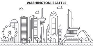 Linea illustrazione di architettura di Washington, Seattle dell'orizzonte Paesaggio urbano lineare con i punti di riferimento fam royalty illustrazione gratis