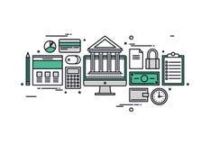 Linea illustrazione di finanza e contare di stile Fotografia Stock Libera da Diritti
