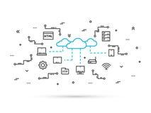 Linea illustrazione di tecnologia di stoccaggio della nuvola di vettore Immagine Stock
