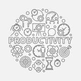 Linea illustrazione rotonda di produttività illustrazione di stock