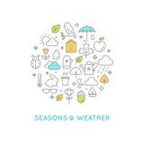 Linea illustrazione rotonda di stagioni e del tempo delle icone Fotografia Stock