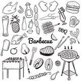 Linea imprecisa insieme di vettore di scarabocchio di arte degli oggetti e dei simboli per il tema della griglia e del barbecue illustrazione vettoriale