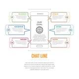 Linea Infographic di chiacchierata Immagini Stock Libere da Diritti