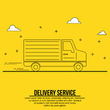Linea insegna del camion di consegna di arte illustrazione di stock