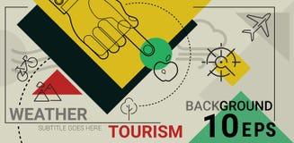 Linea insegna del tempo dell'annuncio di turismo Fotografia Stock Libera da Diritti