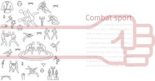 Linea insegna di arti marziali delle icone Elementi del infographics Il vettore mette in mostra i segni illustrazione di stock