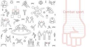 Linea insegna di arti marziali delle icone Elementi del infographics Segni di sport illustrazione di stock