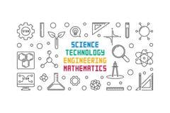 Linea insegna di vettore di scienza, di tecnologia, di ingegneria e di per la matematica illustrazione vettoriale