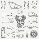 Linea insieme classico di riparazione della bici dell'icona del motociclo di vettore della pianura piana retro Stile del fumetto  Fotografia Stock