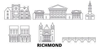 Linea insieme degli Stati Uniti, Richmond dell'orizzonte di viaggio Illustrazione di vettore della città del profilo degli Stati  illustrazione di stock