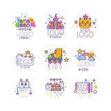 Linea insieme dei bambini di logo Dipinga la tavolozza con la spazzola, il castello, il gatto, i rulli, l'arcobaleno con le nuvol Fotografie Stock
