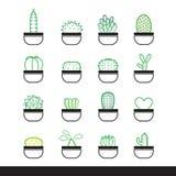 Linea insieme del cactus dell'icona Fotografia Stock Libera da Diritti