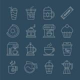 Linea insieme del caffè dell'icona Immagine Stock
