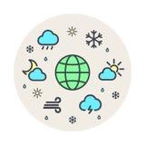 Linea insieme del mondo del pianeta di clima e del tempo del cerchio di vettore dell'icona Fondo grigio Un cerchio delle icone Fotografia Stock Libera da Diritti