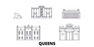 Linea insieme del Queens degli Stati Uniti, New York dell'orizzonte di viaggio Illustrazione di vettore della città del profilo d illustrazione di stock