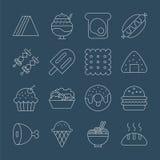 Linea insieme dell'alimento dell'icona Fotografia Stock Libera da Diritti