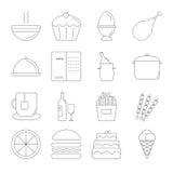 Linea insieme dell'alimento dell'icona Immagine Stock Libera da Diritti
