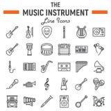 Linea insieme dell'icona, audio simboli degli strumenti di musica royalty illustrazione gratis