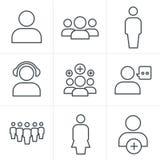Linea insieme dell'icona del gruppo di stile delle icone Immagini Stock