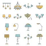 Linea insieme dell'icona della lampada, progettazione piana Fotografia Stock