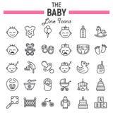 Linea insieme dell'icona, raccolta del bambino di simboli del bambino Fotografie Stock