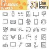 Linea insieme dell'icona, simboli degli apparecchi elettronici di media Fotografia Stock