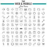 Linea insieme dell'icona, simboli del cellulare e di web dell'interfaccia di OS illustrazione di stock