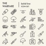 Linea insieme dell'icona, simboli raccolta, schizzi di vettore, illustrazioni di logo, pacchetto lineare di guerra dell'esercito  royalty illustrazione gratis