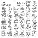 Linea insieme dell'icona, simboli raccolta, schizzi di vettore, illustrazioni di logo, pittogrammi lineari di ecologia dell'ambie illustrazione vettoriale