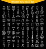 Linea insieme della cucina dell'icona Fotografia Stock