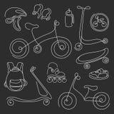 Linea insieme di arte Schizzo di scarabocchio delle merci di sport per i bambini Vettore Immagini Stock