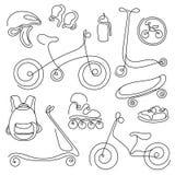 Linea insieme di arte Schizzo di scarabocchio delle merci di sport per i bambini Vettore Fotografia Stock