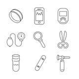 Linea insieme di base medico dell'icona del dispositivo delle icone Fotografie Stock