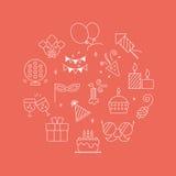 Linea insieme di compleanno del cerchio dell'icona Fotografia Stock
