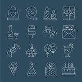Linea insieme di compleanno dell'icona Immagine Stock Libera da Diritti