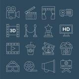 Linea insieme di film dell'icona Immagini Stock