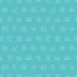 Linea insieme di finanza di affari del modello dell'icona Immagine Stock