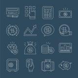 Linea insieme di finanza di affari dell'icona Fotografie Stock