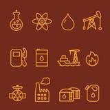Linea insieme di industria della benzina e del petrolio dell'icona Immagini Stock
