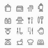 Linea insieme di simbolo della cucina dell'icona Fotografie Stock Libere da Diritti