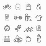 Linea insieme di simbolo di esercizio dell'icona Fotografia Stock
