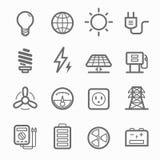 Linea insieme di simbolo di potere dell'icona Fotografia Stock