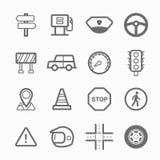 Linea insieme di simbolo di traffico dell'icona Fotografia Stock