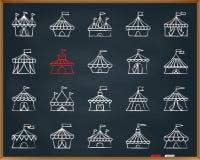 Linea insieme di tiraggio del gesso della tenda di circo di vettore delle icone illustrazione vettoriale