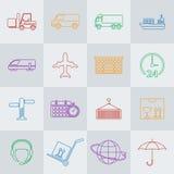 Linea insieme di vettore del trasporto dell'icona Fotografie Stock Libere da Diritti